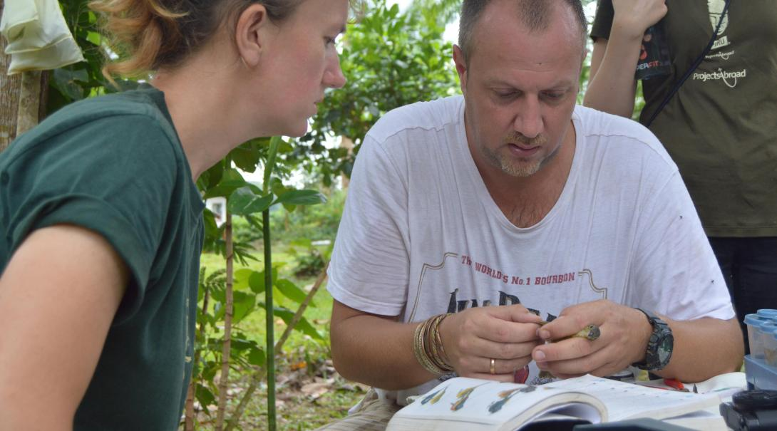 Conservation volunteers gather wildlife data as part of their Amazon Rainforest Conservation volunteer work in Peru.